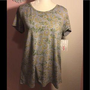 LuLaRoe Classic Tee Size S gray flower print